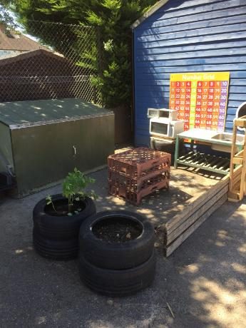Our Mud kitchen to create messy recipes!